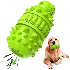 PIFFZEDO Dog Chew Squeaky Toys for Aggressive Chewers Large Medium Breed Dog Teeth Grinding Toy Dog Toothbrush Nearly Indestructible Interactive Tough Durable Toys Natural Rubber(Green)