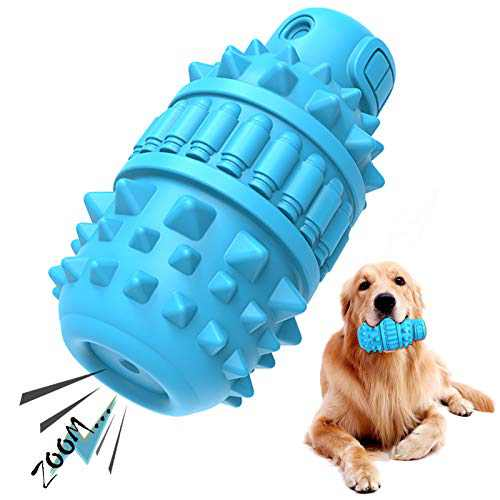 PIFFZEDO Dog Chew Squeaky Toys for Aggressive Chewers Large Medium Breed Dog Teeth Grinding Toy Dog Toothbrush Nearly Indestructible Interactive Tough Durable Toys Natural Rubber(Azure)