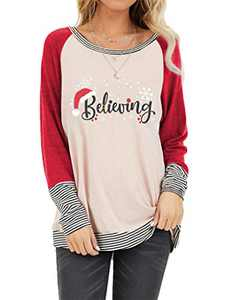 Christmas Believing Sweatshirt Women Santa Hat Pullover Funny Graphic Shirt Holiday Tops (Red, S)