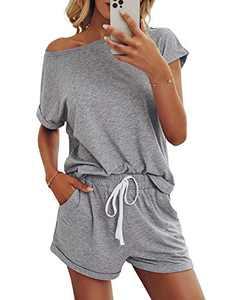 Saslax Womens Solid Pajamas Set Lounge Set Short Sleeve Tops and Shorts 2 Piece Loungewear Sleepwear Pjs, Lightgray Large