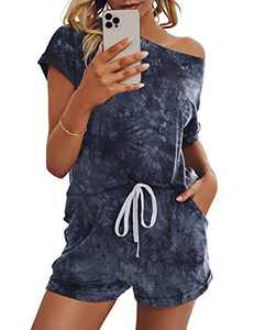 Saslax Womens Tie Dye Pajamas Set Lounge Set Short Sleeve Tops and Shorts 2 Piece Loungewear Sleepwear Pjs, Graybluetiedye X-Large