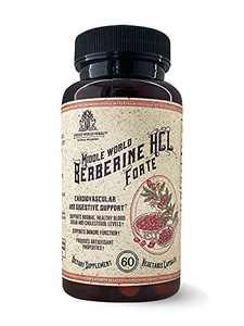 Middle World Berberine HCL Forte — Non-GMO Berberine Supplement for Blood Sugar Support, Lower Cholesterol, Heart Health and Immune Boost — Berberine 1200mg, 60 Veggie Caps