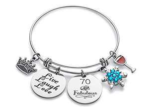 Doitory 70th Birthday Gifts for Women Grandma Birthday Gifts Charm Bracelets for Women Teen Girl Gifts for Friends Female Jewelry for Women