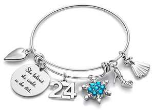 Doitory 24th Birthday Gifts for Women Charm Bracelets for Women Teen Girl Gifts for Friends Female Jewelry for Women