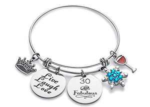Doitory 30th Birthday Gifts for Women Charm Bracelets for Women Teen Girl Gifts for Friends Female Jewelry for Women