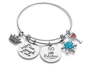 Doitory 50th Birthday Gifts for Women Charm Bracelets for Women Teen Girl Gifts for Friends Female Jewelry for Women