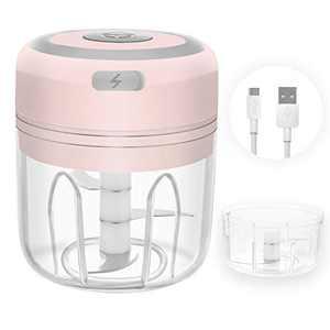Atemws Small Electric Garlic Chopper Set Kit Mini Kitchen Mincer Portable Food Processor for Vegetable Fruits 250ml&100ml Cup