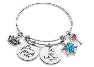 Doitory 60th Birthday Gifts for Women Grandma Birthday Gifts Charm Bracelets for Women Teen Girl Gifts for Friends Female Jewelry for Women