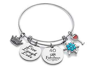 Doitory 40th Birthday Gifts for Women Charm Bracelets for Women Teen Girl Gifts for Friends Female Jewelry for Women