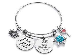 Doitory 35th Birthday Gifts for Women Charm Bracelets for Women Teen Girl Gifts for Friends Female Jewelry for Women