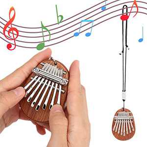 Emoin Mini Kalimba Thumb Piano, Solid Wood 8 Keys Finger Piano, Portable Marimba Musical Thumb Piano with Lanyard, Valentines Gift for Kids Adults Beginners