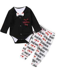 Shalofer Baby Boys My 1st Valentine's Day Outfits Infant Heart Breaker Romper (Black,3-6 Months)