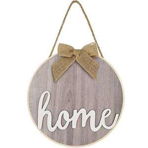 Wooden Hanging Sign Hello Spring Welcome Sweet Home Sunflower Printed Sign for Spring Summer Valentine's Day Home Window Wall Farmhouse Indoor Outdoor Decor (Light Base with Home)