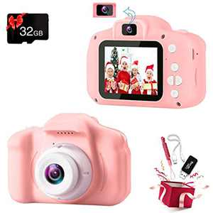 Podokas Kids Camera Selfie Dual Lens Shockproof Digital 1080P HD Video Camcorder, Charming Christmas Birthday Gifts for Girls Toddler Age 3-10 Portable Game Toys with 32G SD Card (Pink)