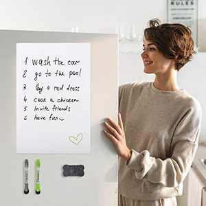 Bssay Nano Adhesive White Board is Used in Kitchen, Refrigerator, Office and Smooth Wall, Reusable Dry Eraser White Board, Including 1 Eraser and 2 Pens - 20x13 inch