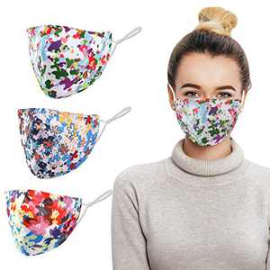 Vadeture Face Mask Reusable Washable, Cotton Mask with Adjustable Ear Loops, Unisex Adult Face Mask, Soft Fabric Fashion Design Face Cover (3-Pack)