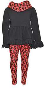 Unique Baby Girls Valentines Cupid Print Legging Set Outfit (2t, Cupid)