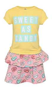 Unique Baby Girls Sweet as Candy Valentines Day Skirt Dress Outfit (9, Sweet)