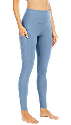 IF FEEL Women's High Waist Yoga Pants with Pocket, Tummy Control, 4 Way StretchWorkout Yoga Leggings Chambray