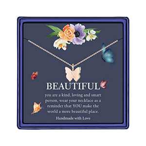 Dainty Butterfly Initial Necklace for Women - 14K Rose Gold Filled Handmade Necklace Jewelry Personalized Alphabet Letter X Pendant Butterfly Choker Necklaces for Women Girls Jewelry(X)
