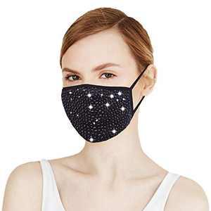 Masquerade Mask for Women - Washable Adjustable Fashion Designer Rhinestone Face Mask for Party Nightclub Christmas
