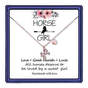 Hidepoo Horse Necklace for Girls, 14K Rose Gold Plated Initial Horse Necklace Valentines Horse Gifts for Girls Teen Toddler Necklace Kids Jewelry(A)