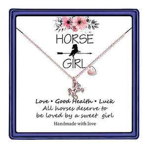 Hidepoo Horse Necklace for Girls, 14K Rose Gold Plated Letter U Initial Horse Necklace Horse Gifts for Girls Valentines Day Girls Gifts Toddler Necklace Kids Jewelry Horse Gifts(U)
