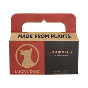 Lucky Dog Compostable Poop Bags | Made from Organic Plants | ASTM D6400 Certified | 4 Roll Pack, 48 Bags