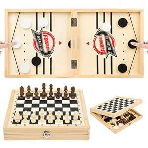 23.6 x 11.8 in Foldable Fast Sling Puck Game & Chess 2 in 1 Set, Wooden Hockey Game, Slingshot Board Portable Wooden Game for Kids and Adults, Parent-Child Interactive Desktop Game for Family Party