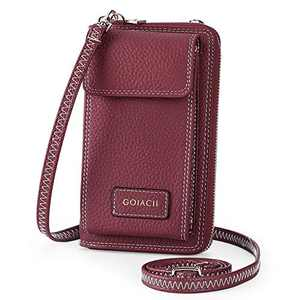 Leather Crossbody Bag Cell Phone Pruse Small Wallet for Women Wristlet Handbags by GOIACII