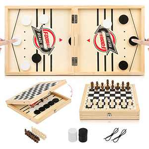 2-in-1 Fast Sling Puck Game Set ENEGON,Large Size 23.6x11.8 Inch Foldable Winner Board Games Toys, Foosball Winner Board Game, Chess& Sling Puck Game Set for Adults&Parent-Child (Large Size)