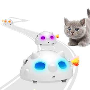 LIDLOK Interactive Cat Toy Pop N Play Automatic Cat Toy, Low Noise Moving Cat Toys for Indoor Cats Kittens, Electronic Cat Feather Toys with Rechargeable Battery, Led Lights