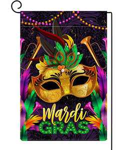 Baccessor Mardi Gras Garden Flag Masquerade Mask Beads Feather Vertical Burlap Double Sized Outdoor Holiday Yard Lawn Party Decoration 12.5 x 18 Inch