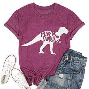 T&Twenties Mama Dinosaur Shirt Cute Mama Saurus Shirts for Women Casual Mom Dinosaur Mama Saurus Graphic Tee Shirt Rose Red
