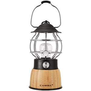 CAMMILE LED Camping Lantern, Battery Powered Lights, Rechargeable Lanterns Vintage Style, 5000mAh Power Bank, Suitable for Hurricane Emergency, Camping, Survival Kits, Hiking, Bedroom