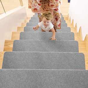 Stair Treads, Stair Mat, Stair Treads Non Slip, Carpet Treads for Wood Stairs, Stair Treads for Wooden Steps, Stair Treads for Outside, Stair Mat for Kids, Stair Treads 8''x30''(14 Pack, Grey)