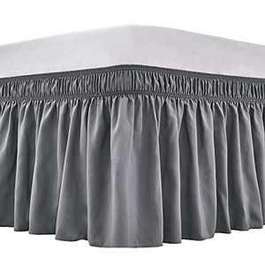 ARANA Bed Skirt Dark Grey King Size Wrap-Around Dust Ruffles, 18 inch Drop Elastic Easy-Install Bedskirt Wrinkle/Fade Resistance, Machine Washable