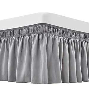 ARANA Bed Skirt Sliver Grey King Size Wrap-Around Dust Ruffles, 18 inch Drop Elastic Easy-Install Bedskirt Wrinkle/Fade Resistance, Machine Washable