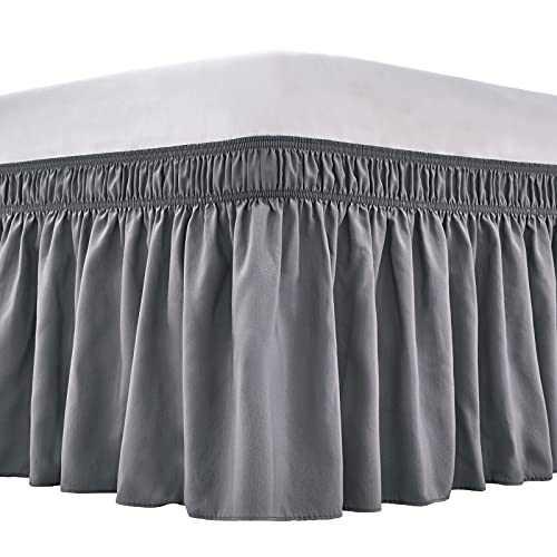 ARANA Bed Skirt Queen Size Dark Grey Wrap-Around Dust Ruffles, 18 inch Drop Elastic Easy-Install Bedskirt Wrinkle/Fade Resistance, Machine Washable