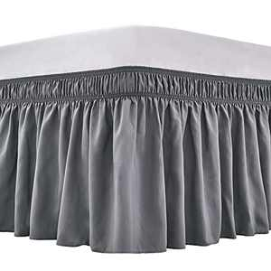 ARANA Bed Skirt Queen Size Dark Grey Wrap-Around Dust Ruffles, 18 inch Drop Elastic Easy-Install Bedskirt Wrinkle/Fade Resistance, Machine Washable