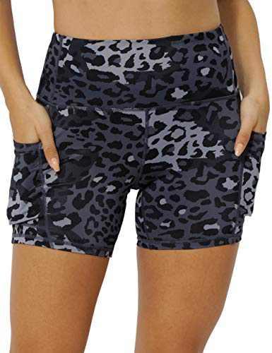 IOJBKI High Waisted Biker Shorts Tummy Control Yoga Workout Running Shorts with Pockets for Women(KH511-Deep Grey Leopard-L)