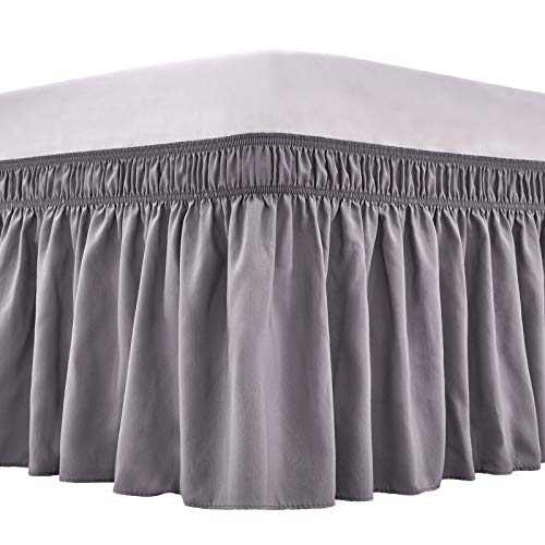 ARANA Bed Skirt Dark Grey Queen Size Wrap-Around Dust Ruffles, 15 inch Drop Elastic Easy-Install Bedskirt Wrinkle/Fade Resistance, Machine Washable
