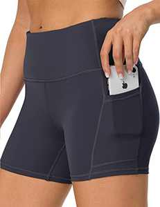 IOJBKI High Waisted Biker Shorts Tummy Control Yoga Workout Running Shorts with Pockets for WomenKH511-Grey-L