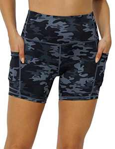 IOJBKI High Waisted Biker Shorts Tummy Control Yoga Workout Running Shorts with Pockets for Women(KH511-Grey Camouflage-L)