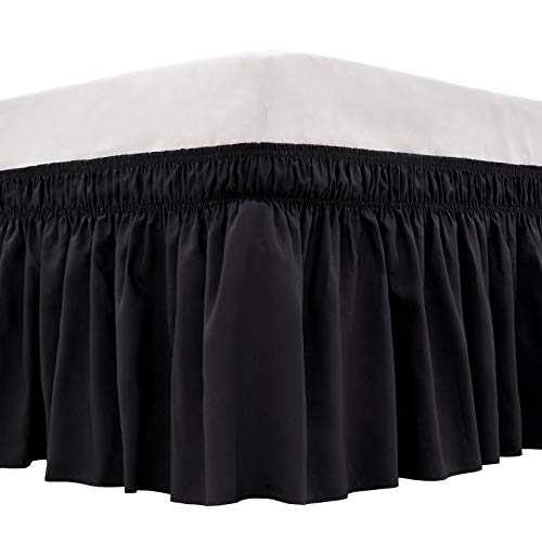 ARANA Bed Skirt Black Queen Size Wrap-Around Dust Ruffles, 15 inch Drop Elastic Easy-Install Bedskirt Wrinkle/Fade Resistance, Machine Washable