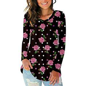 GoYonder Women's V Neck Long Sleeve T Shirts, Casual Floral Printed Comfy Tunic, Curved Hem Tops Tee
