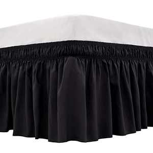ARANA Bed Skirt Black King Size Wrap-Around Dust Ruffles, 18 inch Drop Elastic Easy-Install Bedskirt Wrinkle/Fade Resistance, Machine Washable