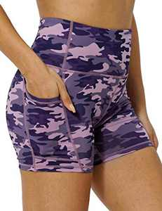 IOJBKI High Waisted Biker Shorts Tummy Control Yoga Workout Running Shorts with Pockets for Women(KH511-PinkPurple Camouflage-L)