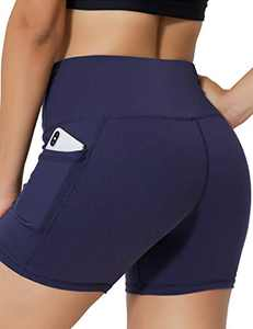 IOJBKI High Waisted Biker Shorts Tummy Control Yoga Workout Running Shorts with Pockets for WomenKH511-Navy Blue-M