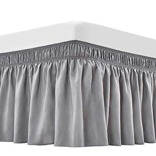 ARANA Bed Skirt Silver Grey King Size Wrap-Around Dust Ruffles, 15 inch Drop Elastic Easy-Install Bedskirt Wrinkle/Fade Resistance, Machine Washable